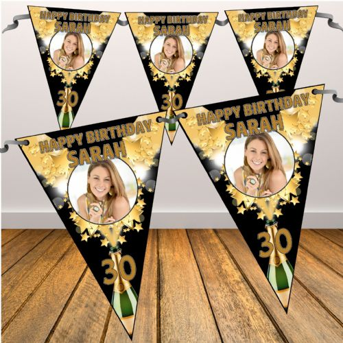 Personalised Champagne Starburst Happy Birthday Flag PHOTO Bunting Banner - N46 ANY AGE